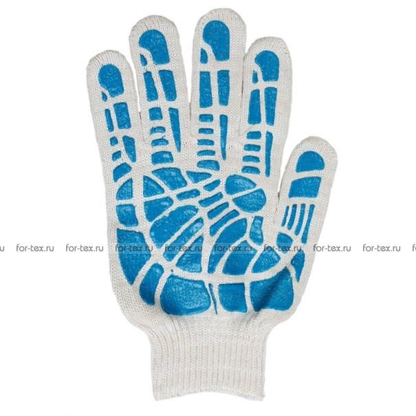 Перчатки ХБ 10 класс 5 нитка с ПВХ (линия) люкс фото
