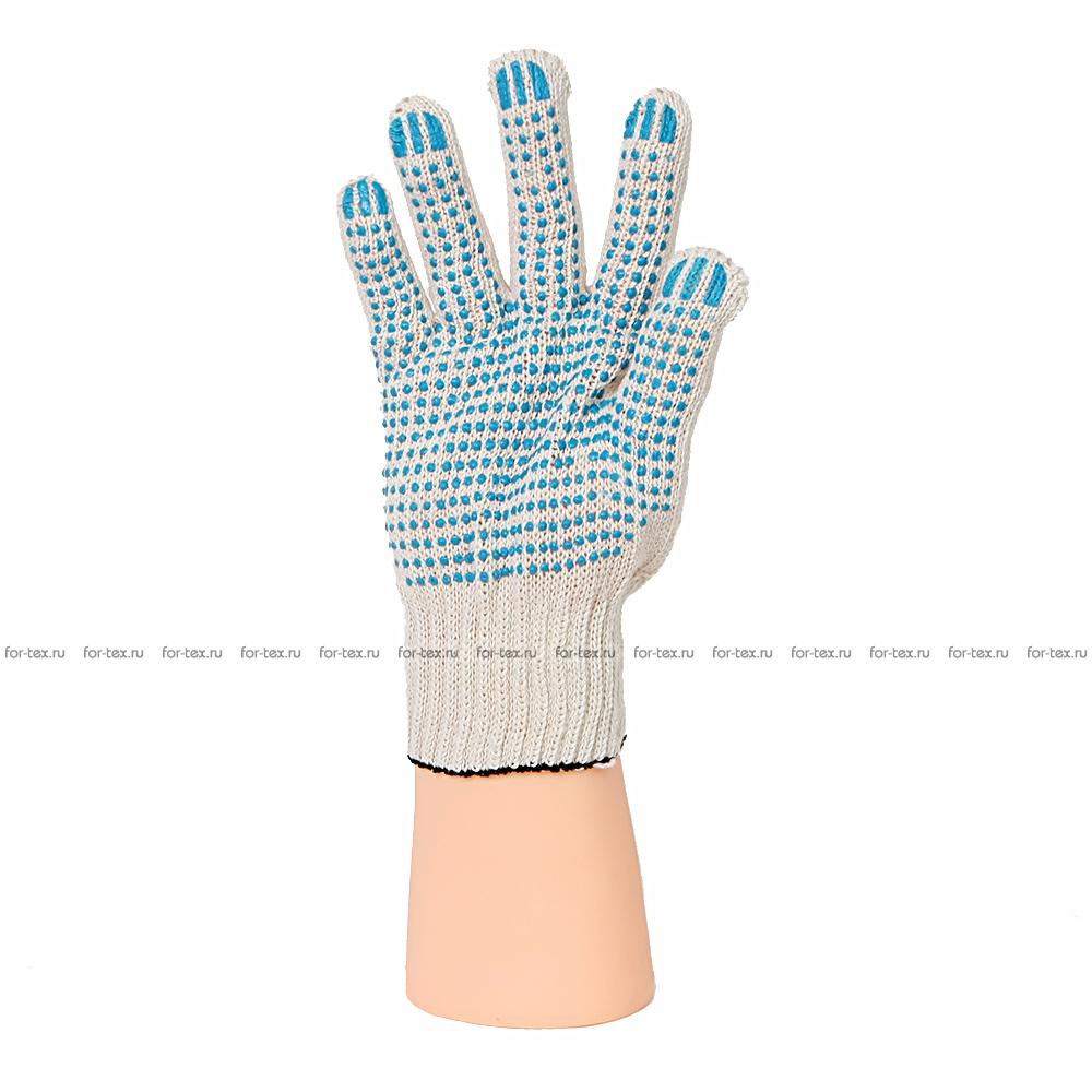 Перчатки ХБ 7,5 класса 3 нитка с ПВХ (точка) фото