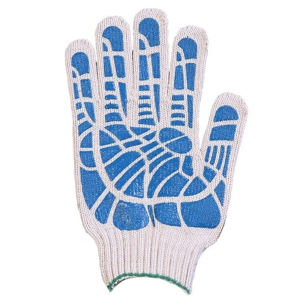 Перчатки ХБ 10 класс 4 нитка с ПВХ (линия) фото