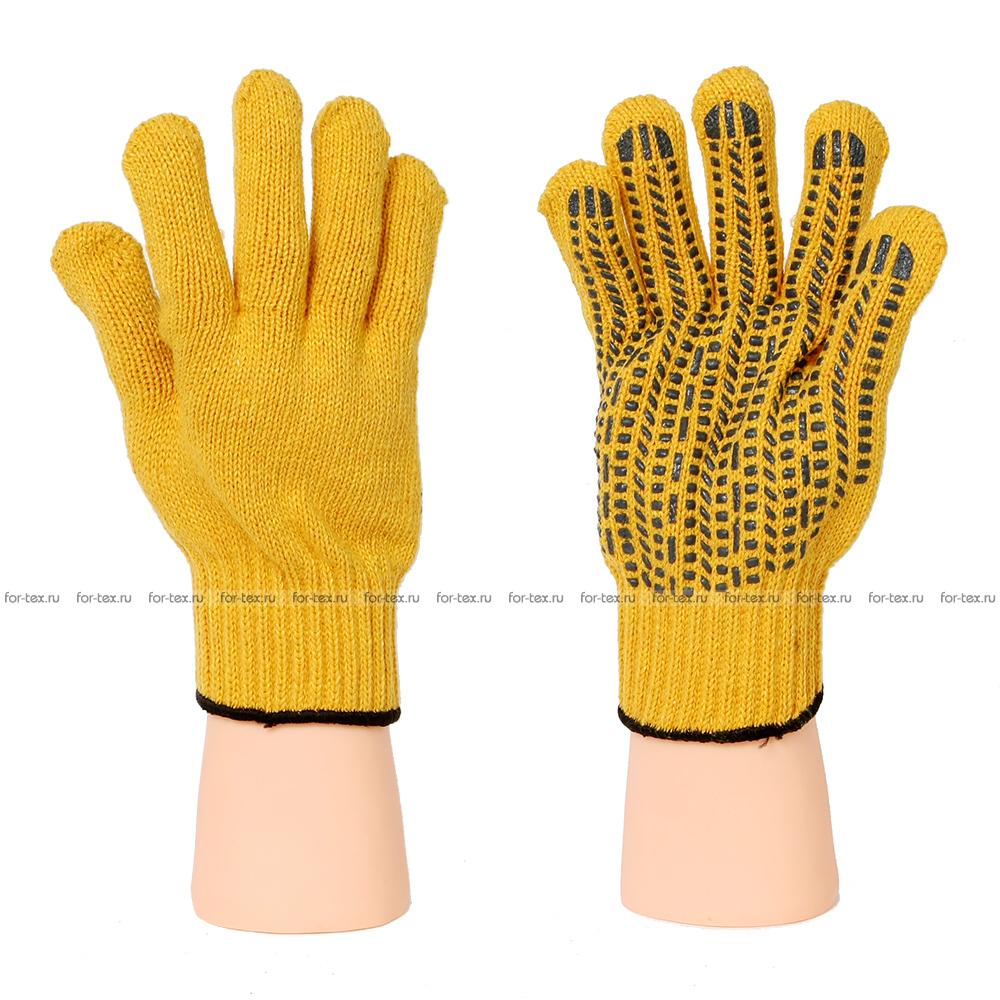 Перчатки ХБ 7,5 класс САХАРА (Желтый) Протектор ЧЕРНЫЙ фото