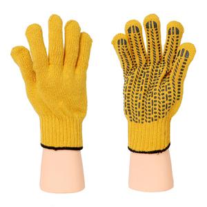 Перчатки ХБ 7,5 класс САХАРА (Желтый) Протектор ЧЕРНЫЙ