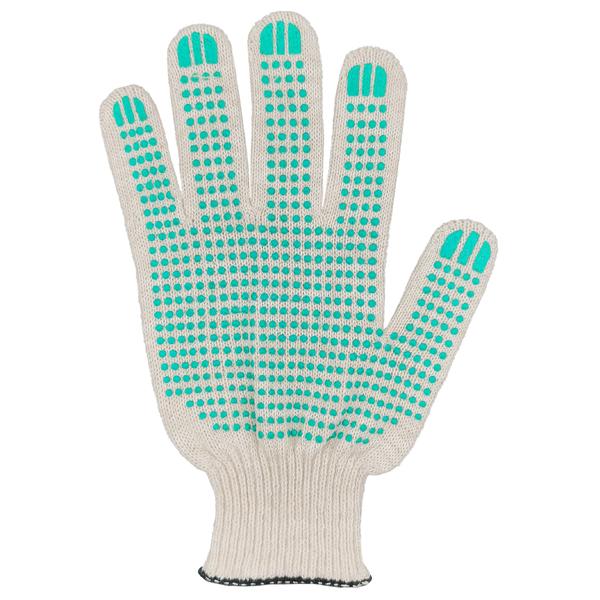 Перчатки ХБ 10 класс 4 нитка с ПВХ (точка) фото