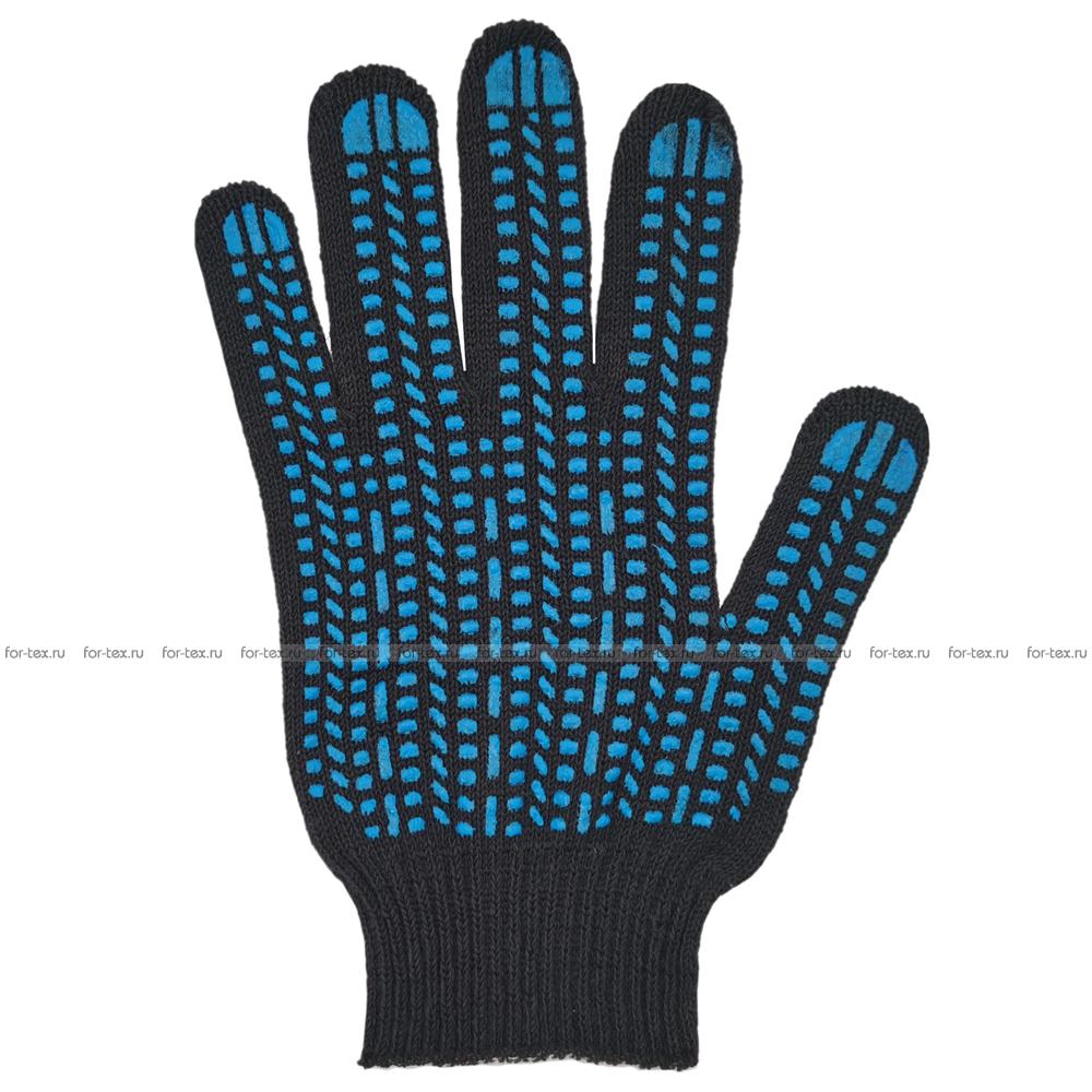 Перчатки ХБ 10 класс 4 нитка с ПВХ (протектор) фото