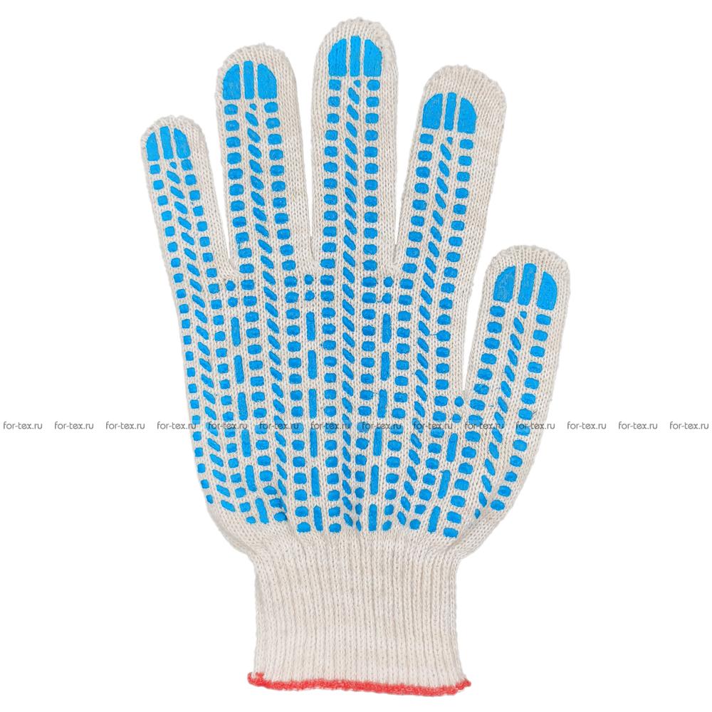 Перчатки ХБ 10 класс 5 нитка с ПВХ (протектор) фото