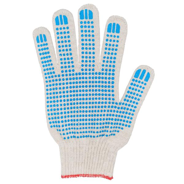 Перчатки ХБ 10 класс 5 нитка с ПВХ (точка) фото