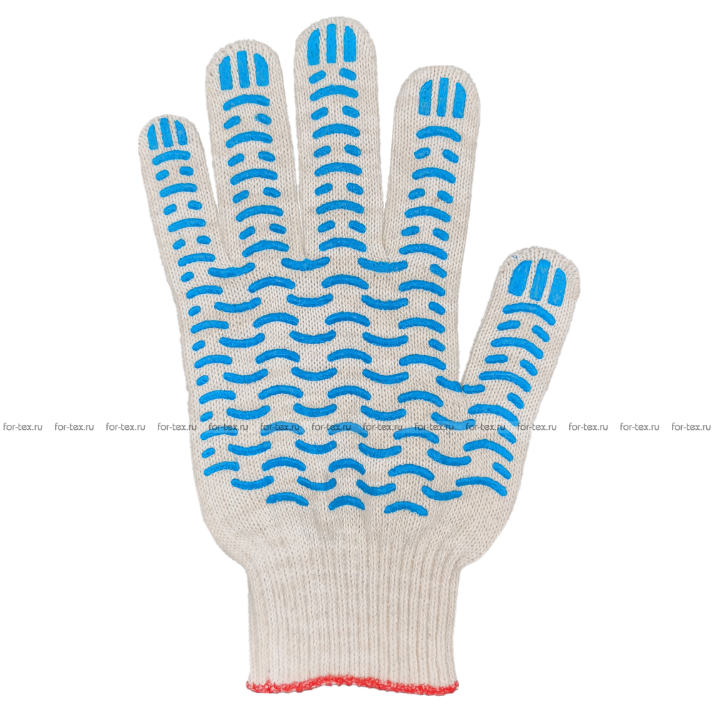 Перчатки ХБ 10 класс 5 нитка с ПВХ (волна) фото