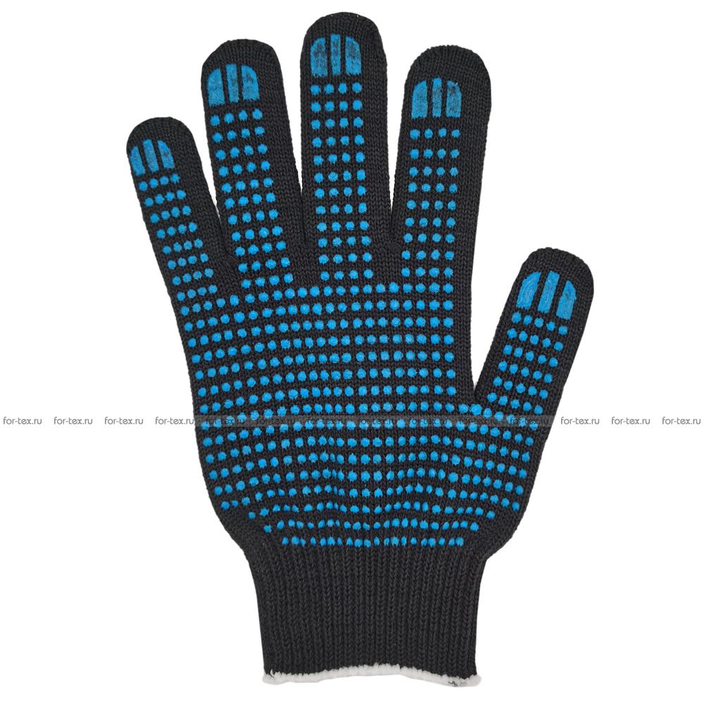 Перчатки ХБ 10 класс 5 нитка с ПВХ (точка) люкс фото