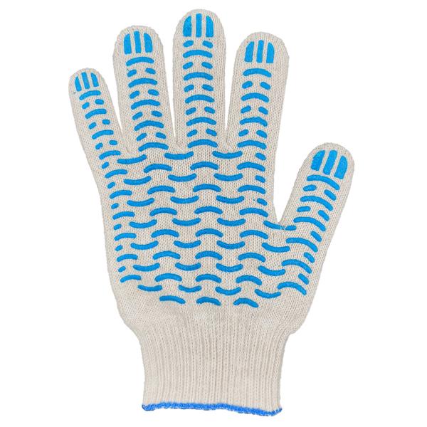 Перчатки ХБ 10 класс 6 нитка с ПВХ (волна) фото