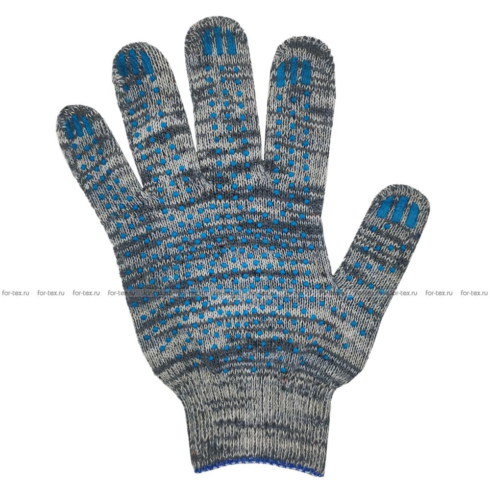 Перчатки ХБ 10 класс 6 нитка с ПВХ (точка) фото