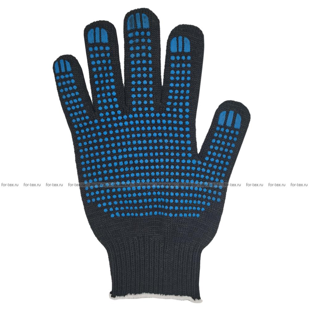 Перчатки ХБ 10 класс 7 нитка с ПВХ (точка) фото