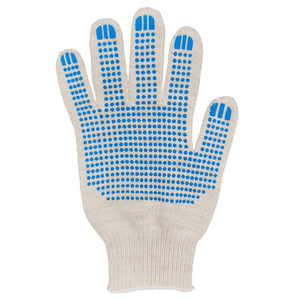 Перчатки ХБ 10 класс 7 нитка с ПВХ (точка)