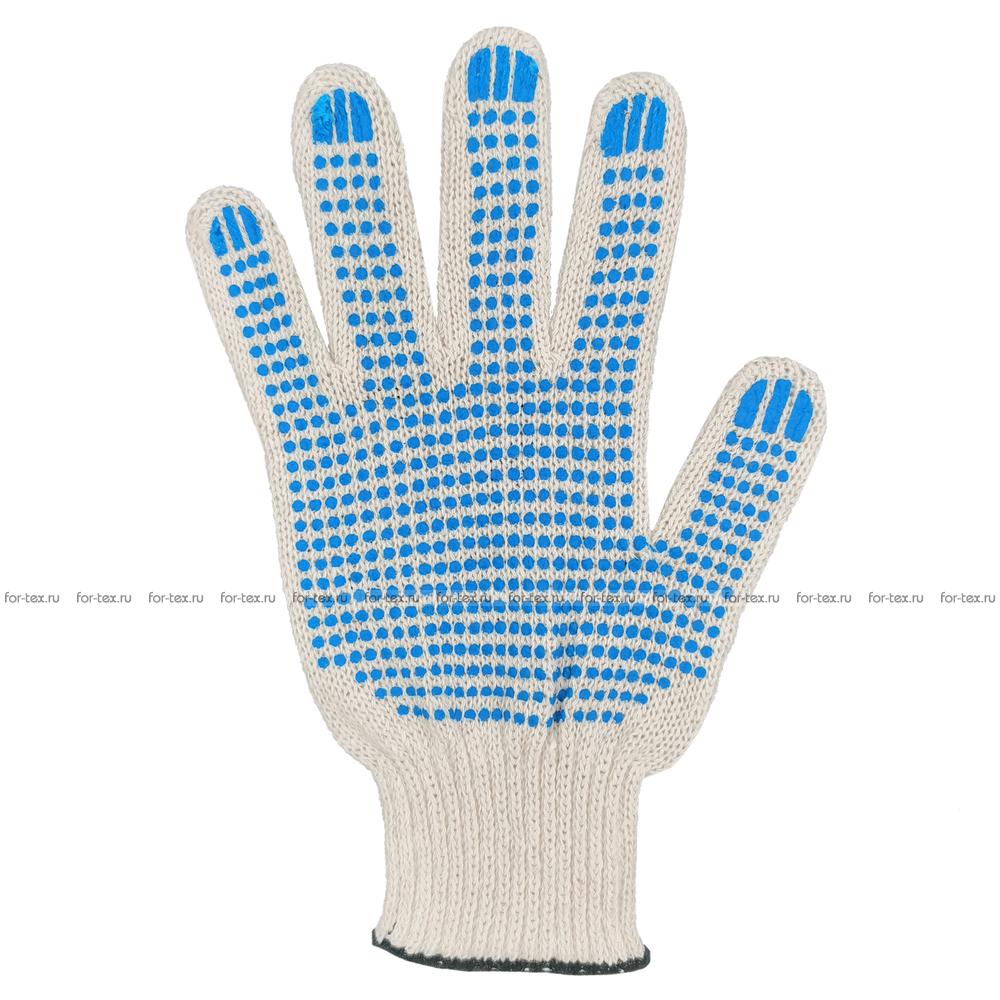 Перчатки ХБ 7,5 класса 4 нитка с ПВХ (точка) фото
