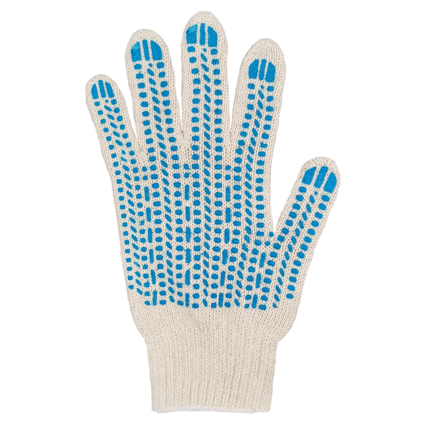 Перчатки ХБ 7,5 класса 5 нитка с ПВХ (протектор) фото