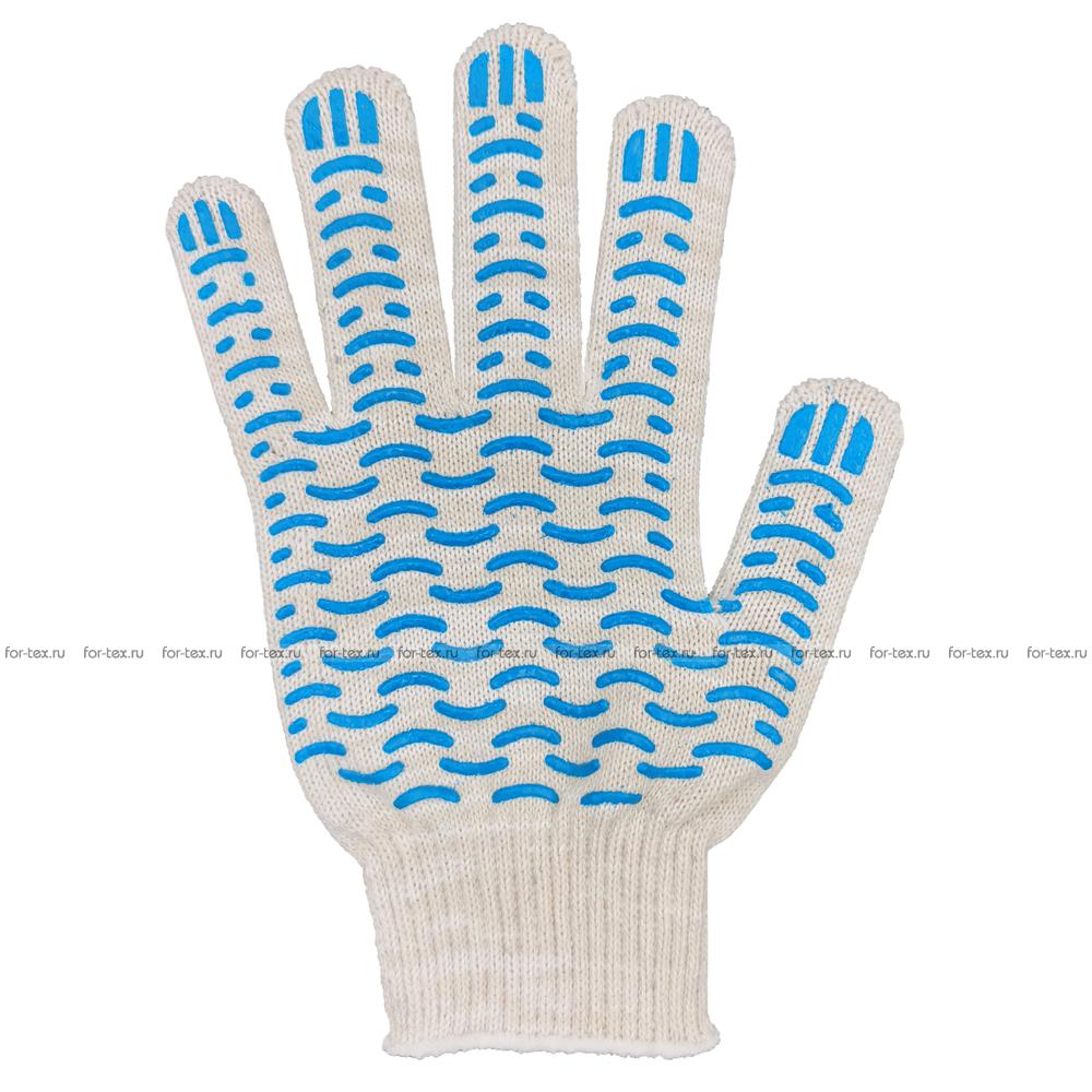 Перчатки ХБ 10 класс 5 нитка с ПВХ (волна) люкс фото