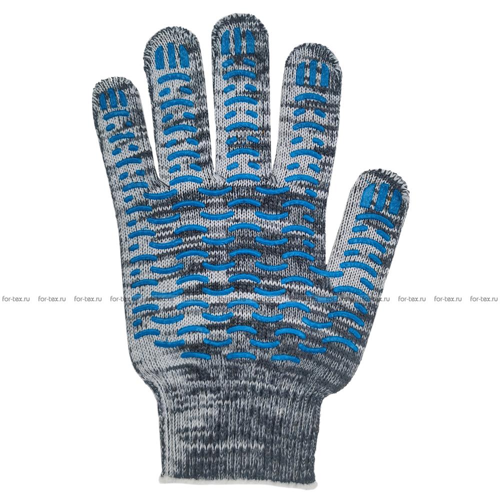 Перчатки ХБ 10 класс 7 нитка с ПВХ (волна) фото