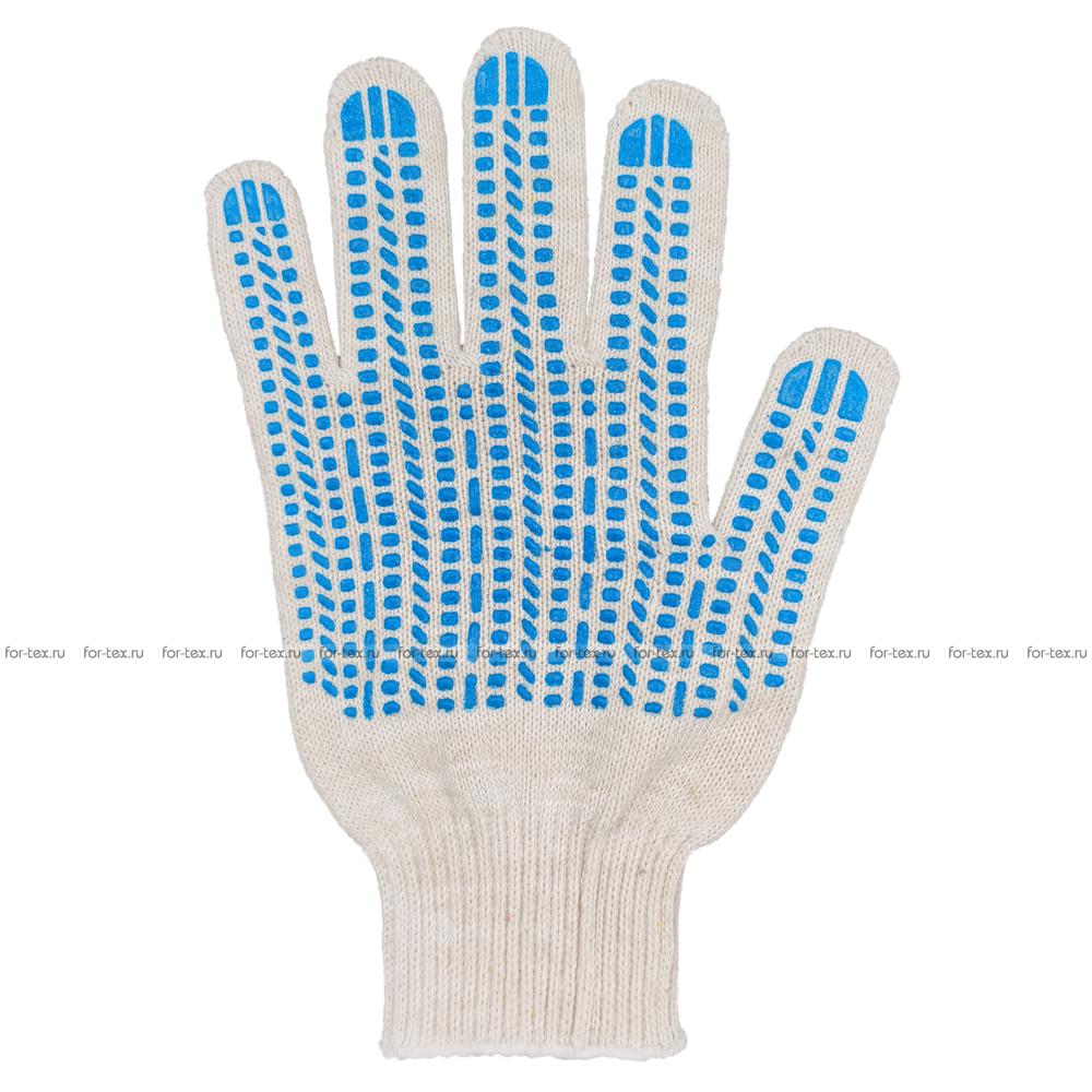 Перчатки ХБ 10 класс 7 нитка с ПВХ (протектор) фото
