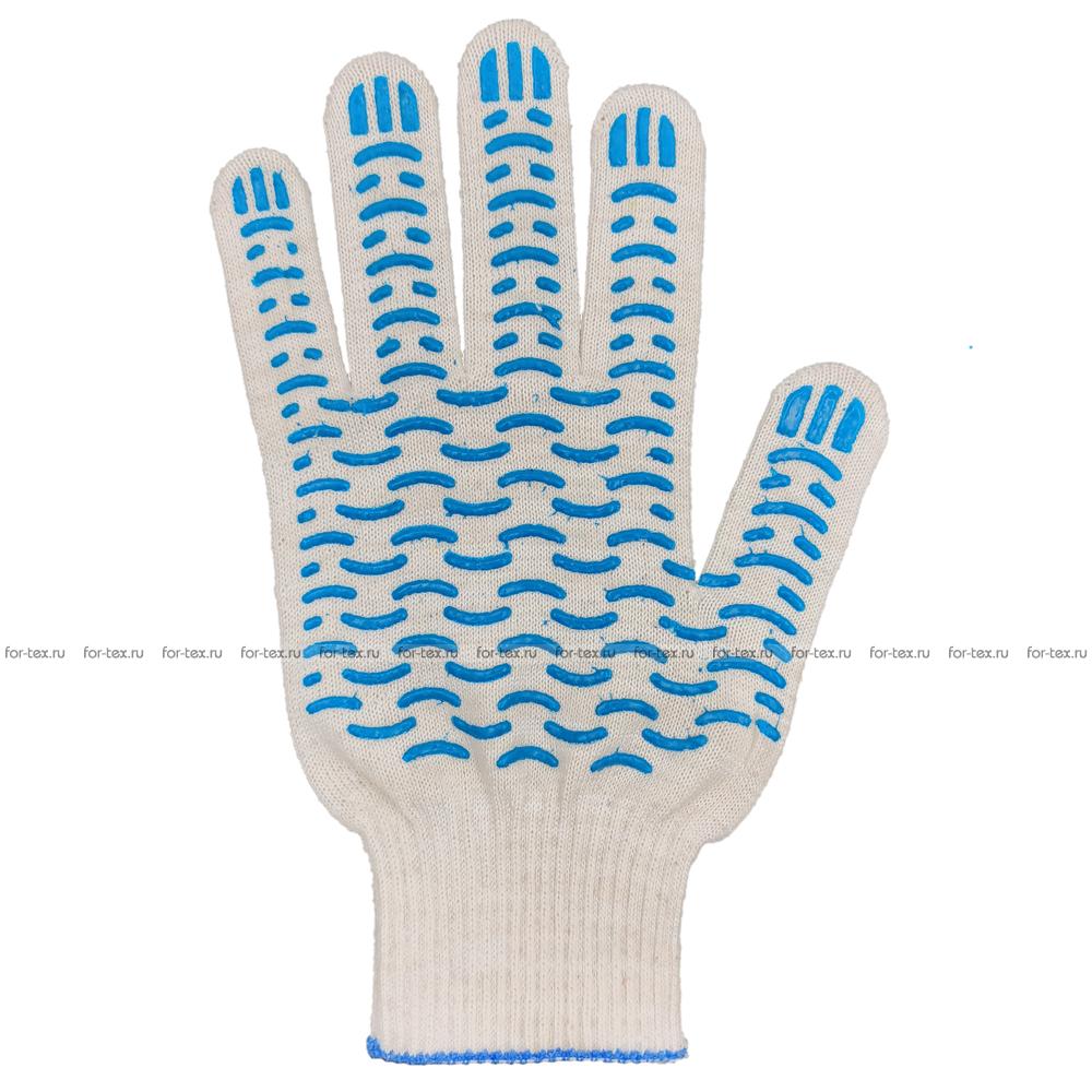 Перчатки ХБ 13 класс с ПВХ Волна фото