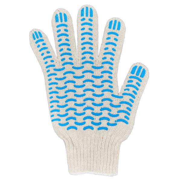 Перчатки ХБ 7,5 класса 5 нитка с ПВХ (волна) фото