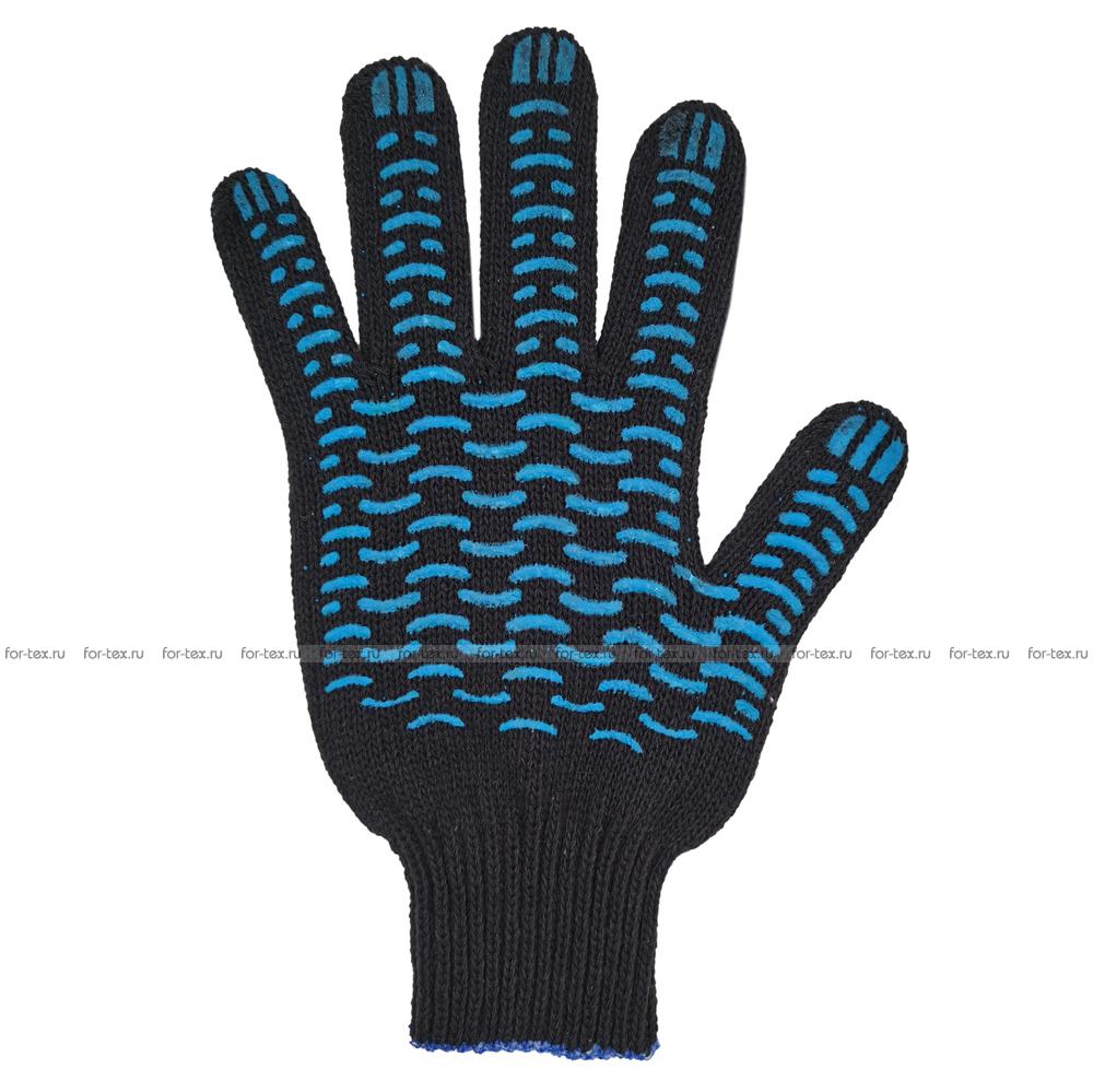 Перчатки ХБ 7,5 класса 6 нитка с ПВХ (волна) фото