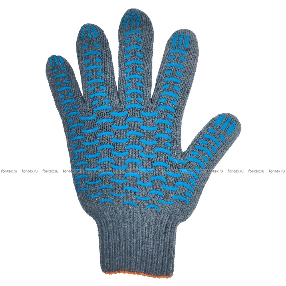 Перчатки ХБ 7,5 класса 7 нитка с ПВХ (волна) фото