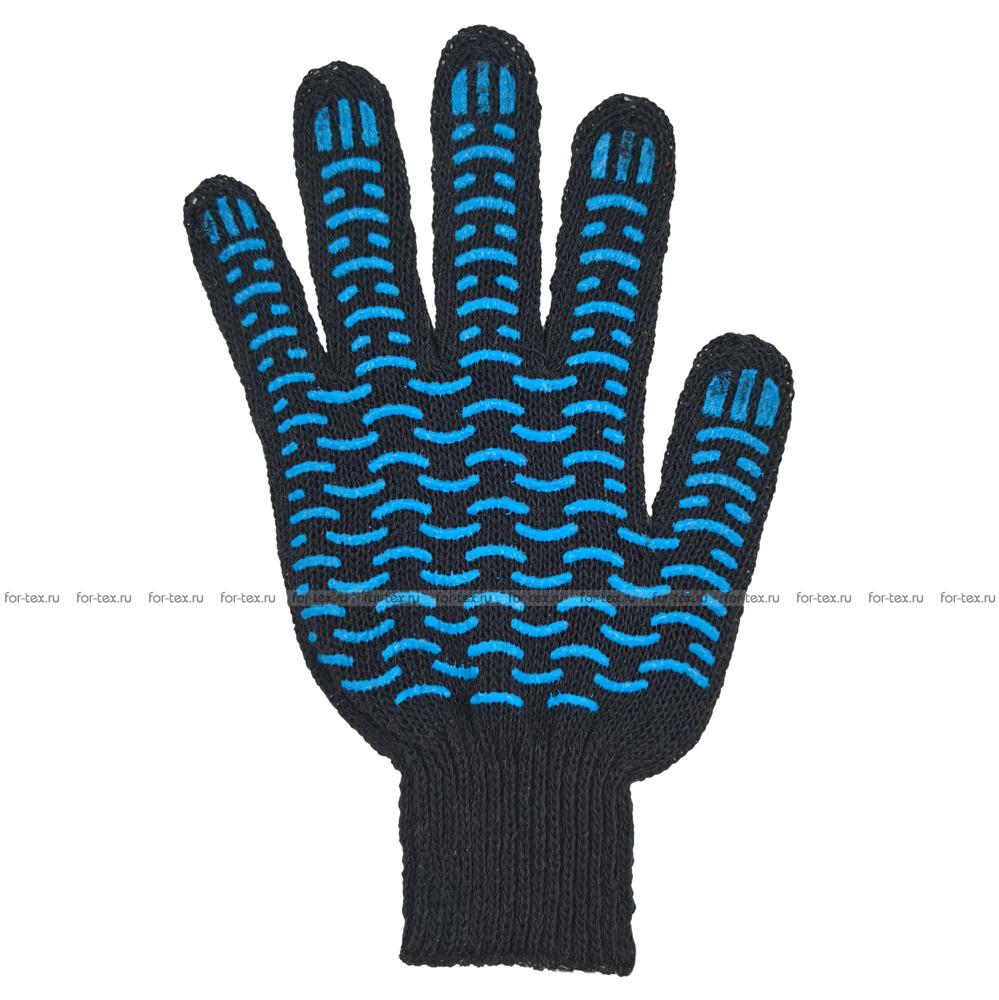 Перчатки ХБ 7,5 класса 4 нитка с ПВХ (волна) фото