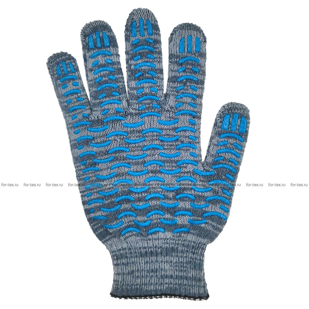 Перчатки ХБ 10 класс 4 нитка с ПВХ (волна) фото